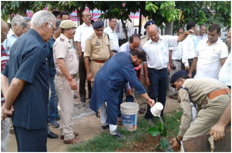 Ch. Lal Singh, Forest Minister planting a tree on the occasion of Van- Mahotsava celebration in 2017