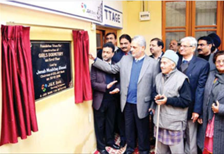 Chairman J&K Bank laying foundation stone of Girls Dormitory on 20-01-2016.