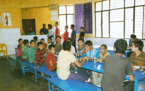 Inmates taking Meals in Boys Mess.